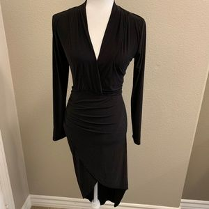 NWT Weekend Black V Neck High Low Dress